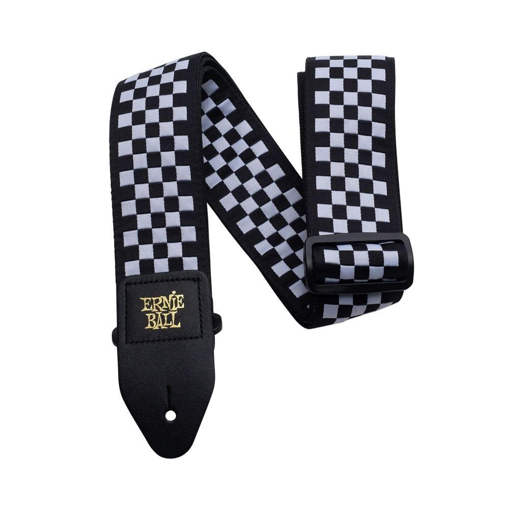 רצועה Ernie Ball Black & White Checkered Jacquard-0
