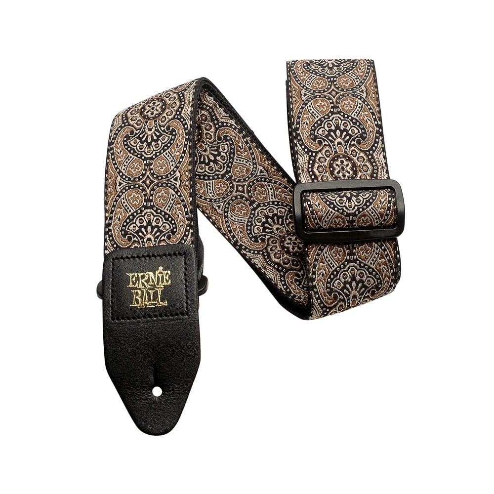 רצועה Ernie Ball Gold & Black Paisley Jacquard-0