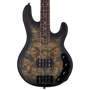גיטרה בס Sterling by Music Man Ray34 Poplar Burl צבע Trans Black Satin