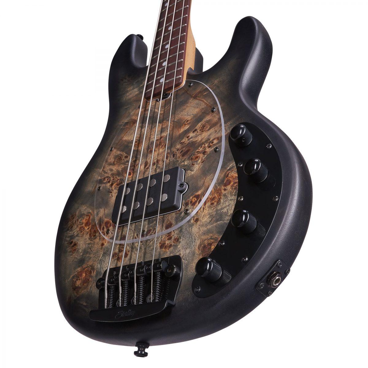 גיטרה בס Sterling by Music Man Ray34 Poplar Burl צבע Trans Black Satin