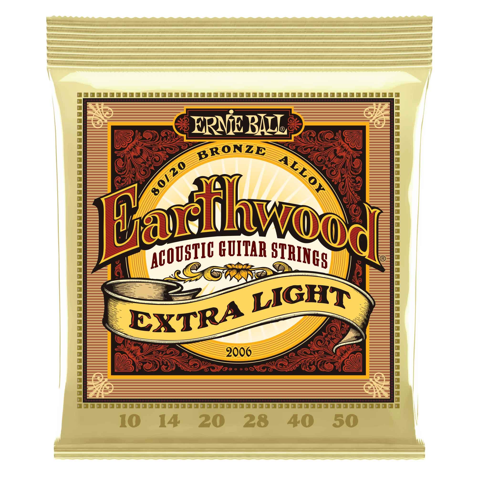 סט מיתרים לגיטרה אקוסטית Ernie Ball 2006 Earthwood 80/20 10-50