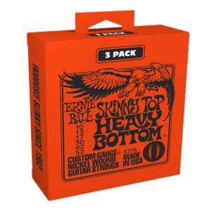 3 סטים מיתרים לגיטרה חשמלית Ernie Ball 3215 Skinny Top Heavy Bottom Slinky Electric 10-52 3-Pack