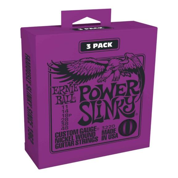 3 סטים מיתרים לגיטרה חשמלית Ernie Ball 3220 Power Slinky Electric 11-48 3-Pack