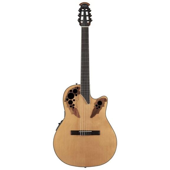 גיטרה קלאסית מוגברת Ovation Celebrity Elite Nylon Mid Depth, Aged Natural